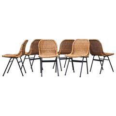 Set of Six Dirk Van Sliedrecht Rattan Dining Chairs