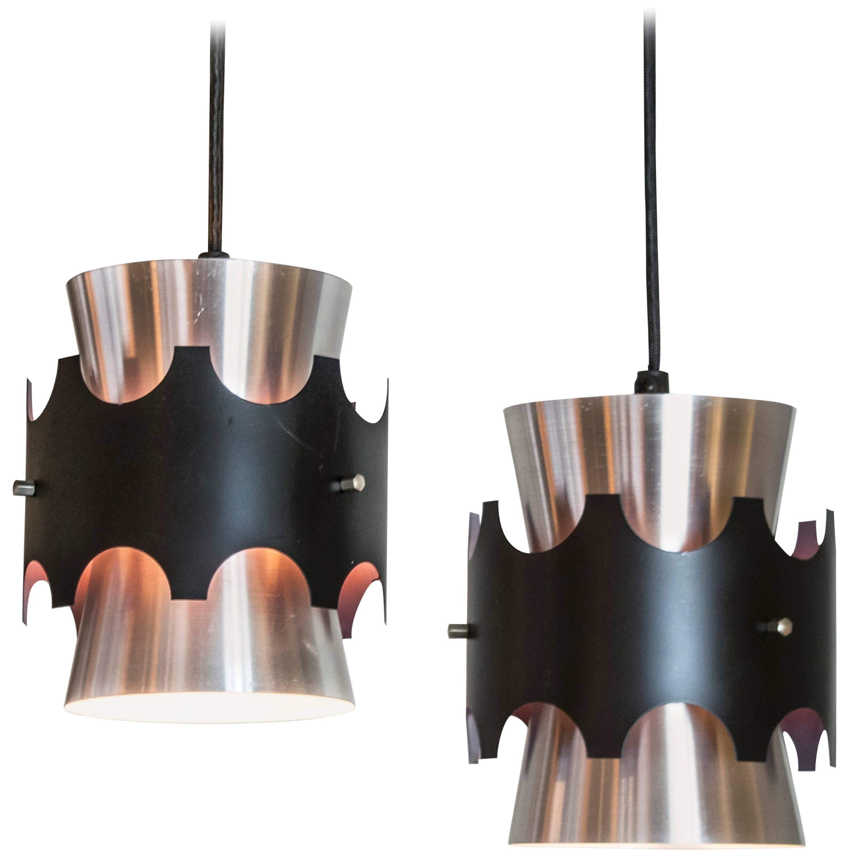 Dobbeltkegle, Rare Aluminum Pendant Pair By Mogens Koch, Louis Poulsen,
