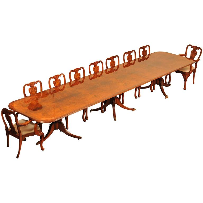 Walnut regency style pedestal dining table seats 16 at for Dining room tables seat 16