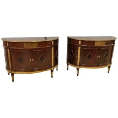 Pair of Russian Neoclassical Demilune Bronze-Mounted Cabinets Style Jansen