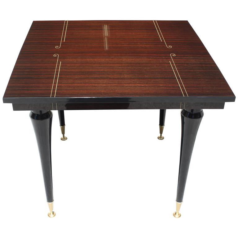 French Art Deco Exotic Macassar Ebony Square Center Or