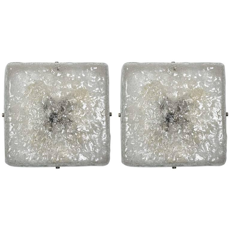 Pair of Square Murano Glass Wall Sconces