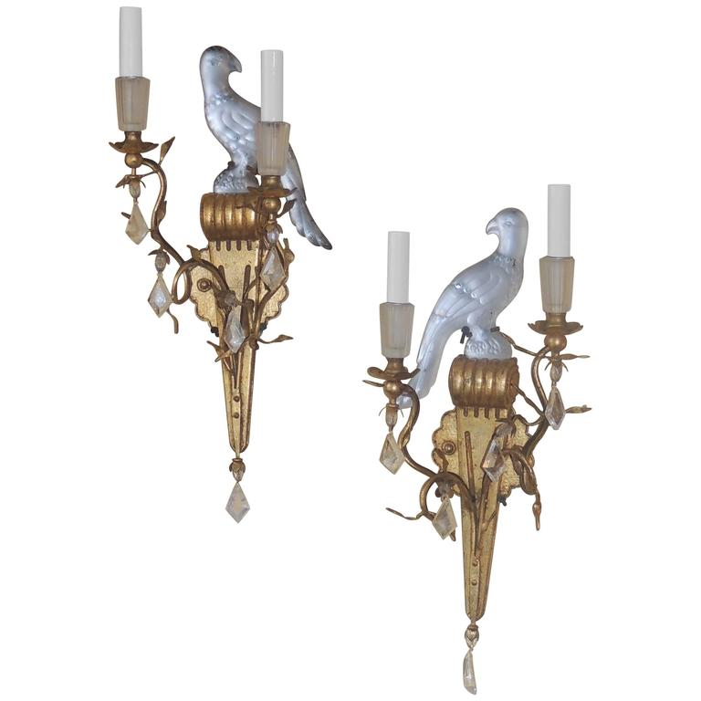 Wall Sconces With Birds : Wonderful Gilt Maison Bagues Glass Rock Crystal Parrot Bird Sconces Tole Jansen at 1stdibs