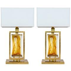 Pair of Rectangular Brass and Murano Glass Lamps