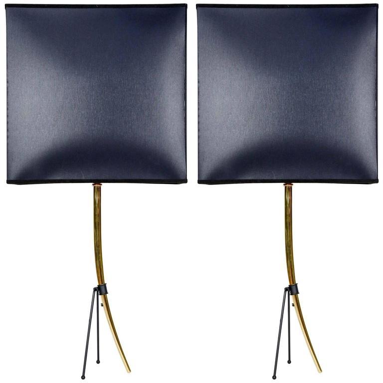Elegant Pair of Brass Horn Lamps