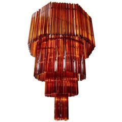 Octagonal Dark Red Murano Glass Chandelier