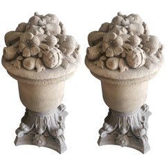Pair of 18th Century French Cast Stone Fruit and Flower Urns