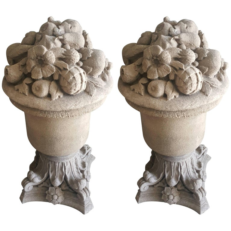 Pair of 18th Century French Cast Stone Fruit and Flower Urns 1