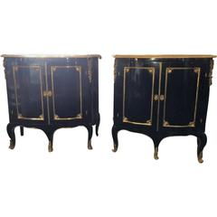 Pair of Louis XV Style Cabinets Commodes or Nightstands in the Manner of Jansen