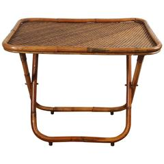 Collapsible Rattan Tray Table