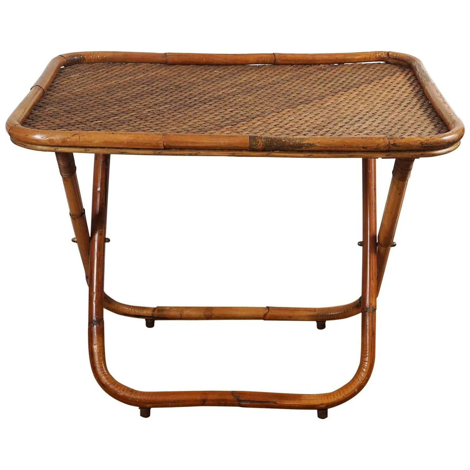 Collapsible Rattan Tray Table For Sale At 1stdibs