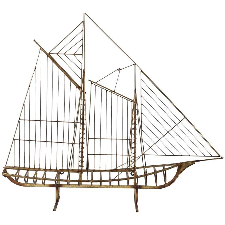 Curtis Jere Metal Boat Sculpture