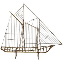 Curtis Jere Metal Boat Sculpture