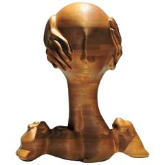 Surrealist Head and Hands Sculpture by Margery Goldberg, 1972