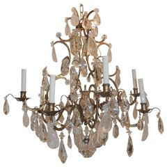 Wonderful Jansen Gilt Baguès Gilt Eight-Arm Rock Crystal Prism Large Chandelier