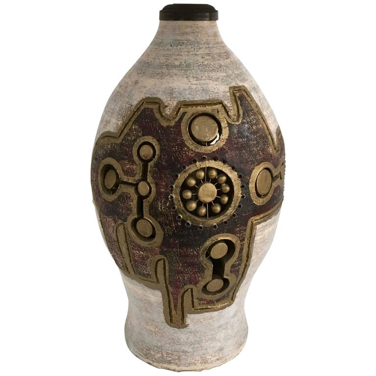 French Glazed and Incised Ceramic Table Lamp by Artist Georges Pelletier 1