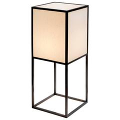Dark Bronze Lantern Floor Lamps with Beige Ana Shades