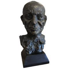 Unusual Bronze Sculpture Bust of Man Head