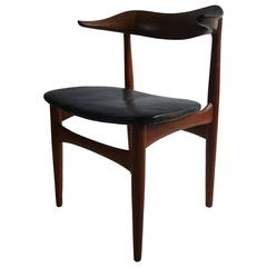 Danish Modern Walnut and Leather Armchair by Povl Dinesen
