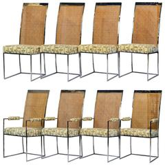 Rare Set of Eight Milo Baughman for Thayer Coggins Chrome and Cane Dining Chairs