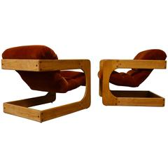 Pair of Lou Hodges Cantilevered Lounge Chairs