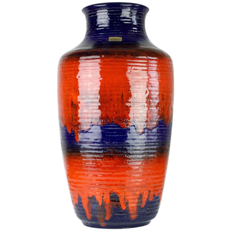 1960s Large Red and Blue Glazed West German Pottery Floor Vase by Carstens