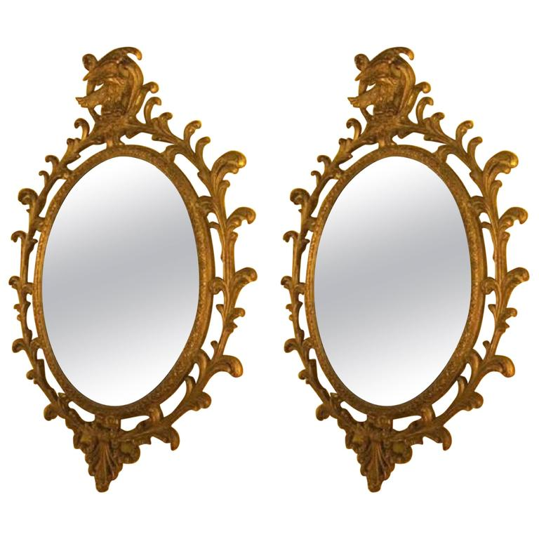 Pair of Carved Italian Gilt Decorated Wall Console Mirrors