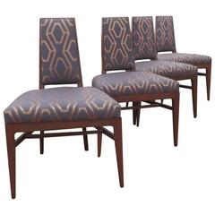 Set of Four Upholstered Game Chairs