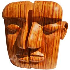 """Split Personality"" Laminated Wooden Sculpture by Hy Farber, 2003"
