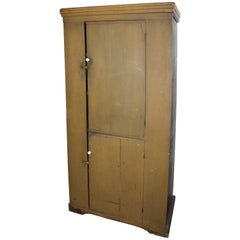 19th Century New England Original Painted Two-Door Wall Cupboard