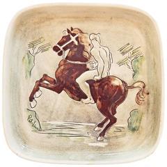 """Rider in the Surf,"" Highly Rare Mid-Century Ceramic Piece, Laguna Beach"