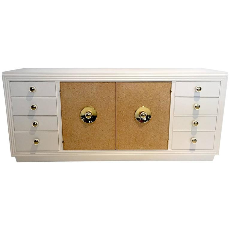 Paul Frankl Sideboard with Lacquered Cork and Brass