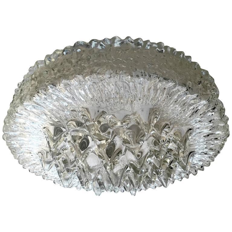 Limburg Glass 1960s Flush Ceiling Light For Sale