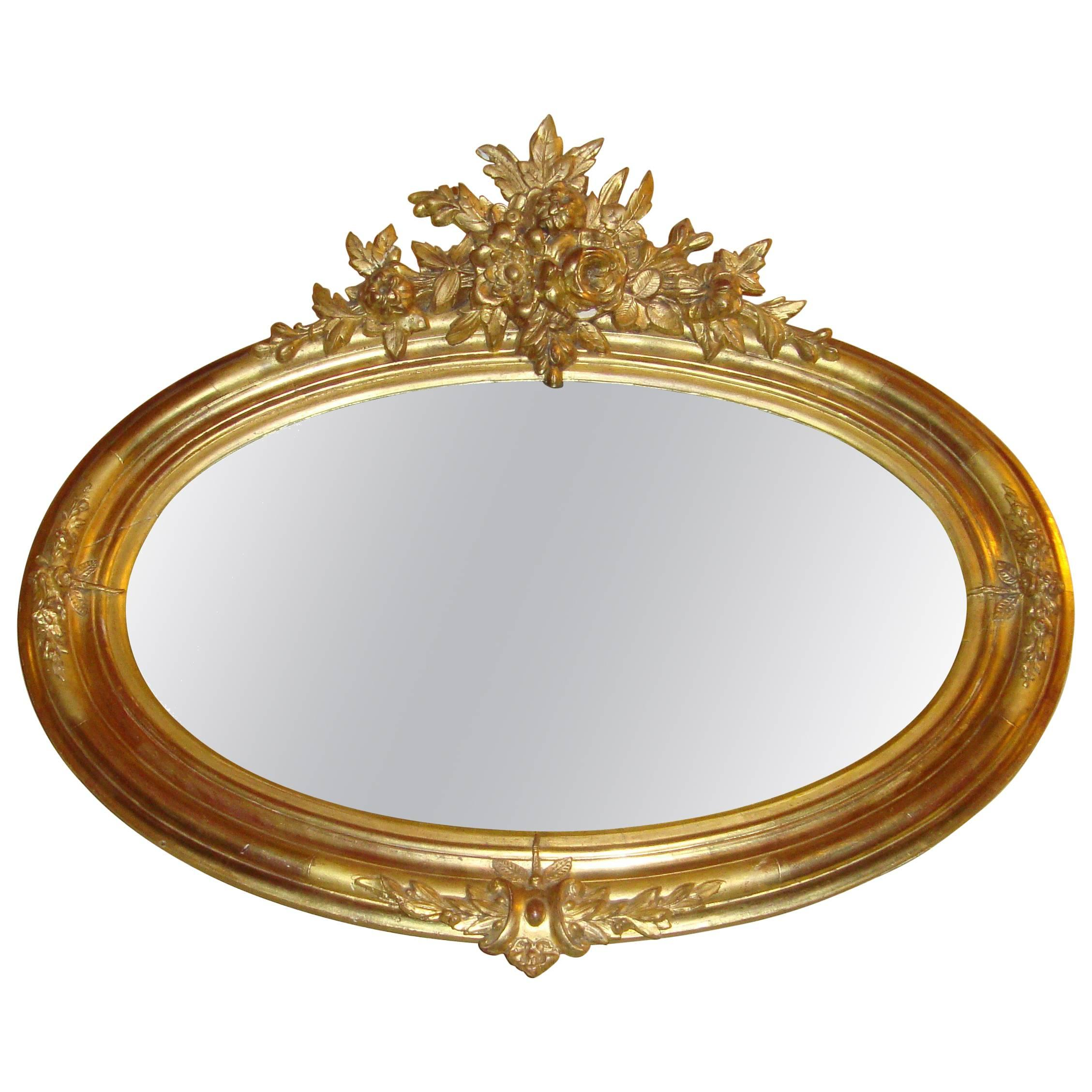 Oval Gilt Wooden over the Mantle or Wall Mirror
