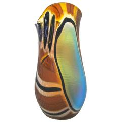 Cenedese 1990s Colorful Murano Glass Vase with Blue Black and Gold Murrine