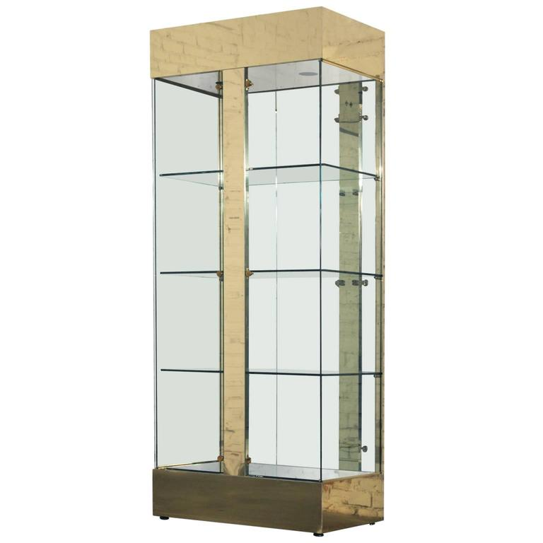 vintage modern brass and glass lighted display vitrine cabinet at 1stdibs. Black Bedroom Furniture Sets. Home Design Ideas