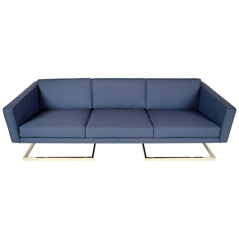 Mid-Century Modern Floating Chrome Sofa in the manner of Milo Baughman