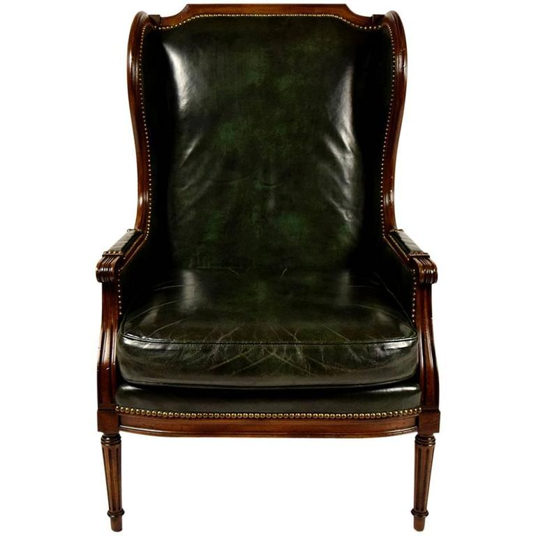 High Quality Vintage Hickory Leather Wingback Chair 1