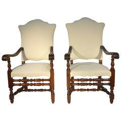 Antique Italian 17th Century Style Walnut Armchair, Set of Two, circa 1880