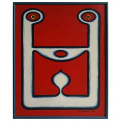 "Modernist Tribal Oli Painting, circa 1969, ""Tete Tete"" Artist Alex Bleszynski"