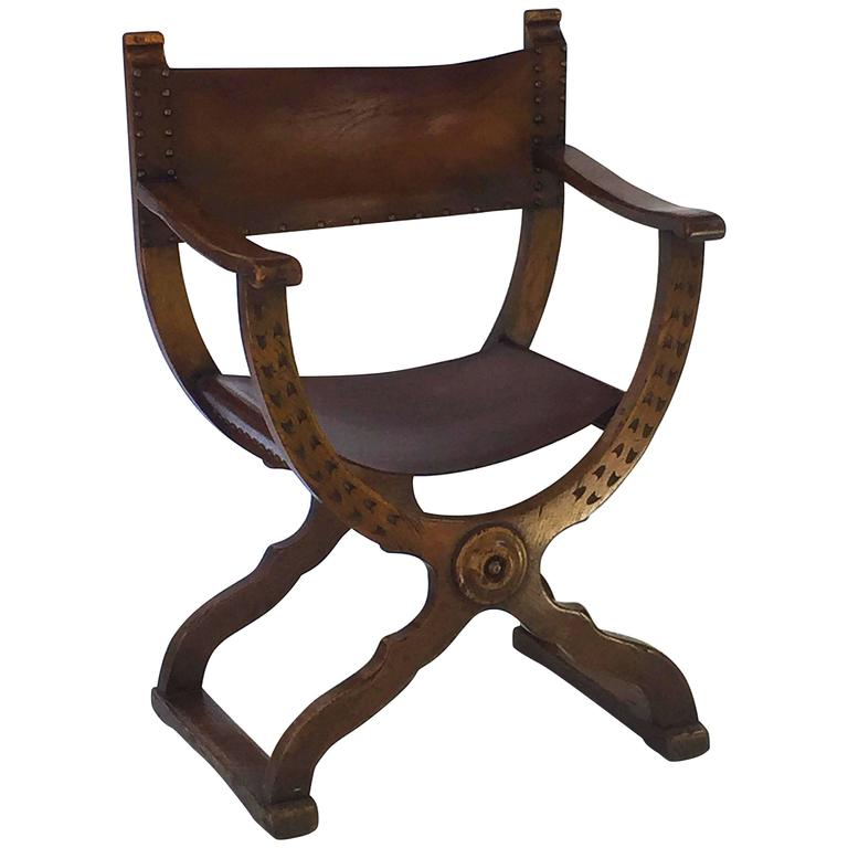 French Savonarola Armchair with Leather Back and Seat For Sale