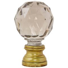 Antique French Baccarat Faceted Crystal Staircase Finial Ball