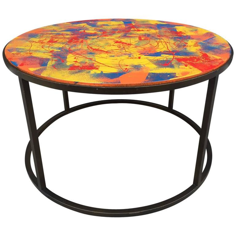 Hand Painted Coffee Table With Bronze Finish Base For Sale At 1stdibs