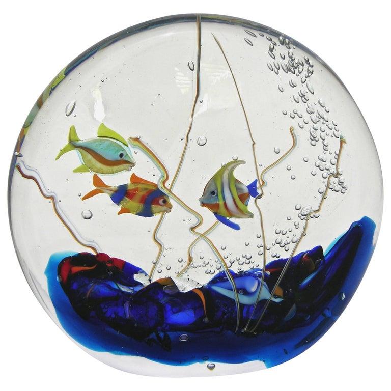 Alberto Dona 1980 Blue Red Yellow Green Murano Glass Aquarium Round Sculpture For Sale