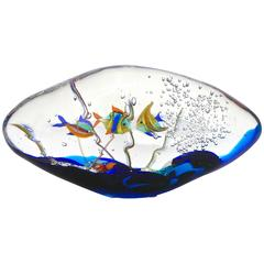 Alberto Dona 1980s Modern Blue Yellow Orange Green Murano Glass Oval Aquarium