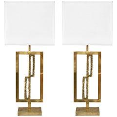 Italian Design Contemporary Pair of Cast Bronze and Gold Brass Rectangular Lamps