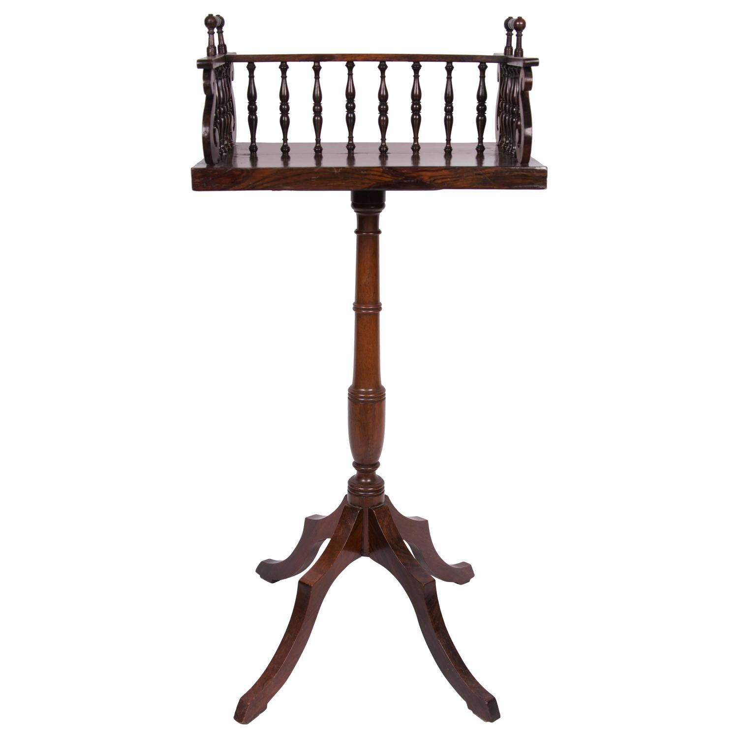 early 19th century regency rosewood book caddy on later stand for