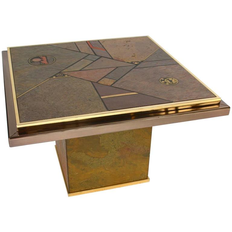 Paul Kingma Attributed Brutalist Stone and Brass Side or Coffee Table, 1970s