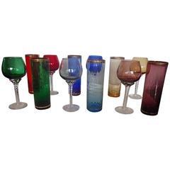 1950 Colorful Set of Murano Wine and Water Drinking Glasses for Six