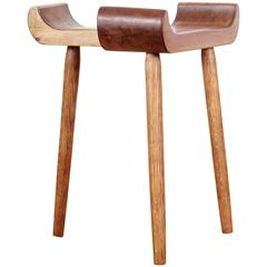 Mid-Century Modern Stool in Pine and Oak